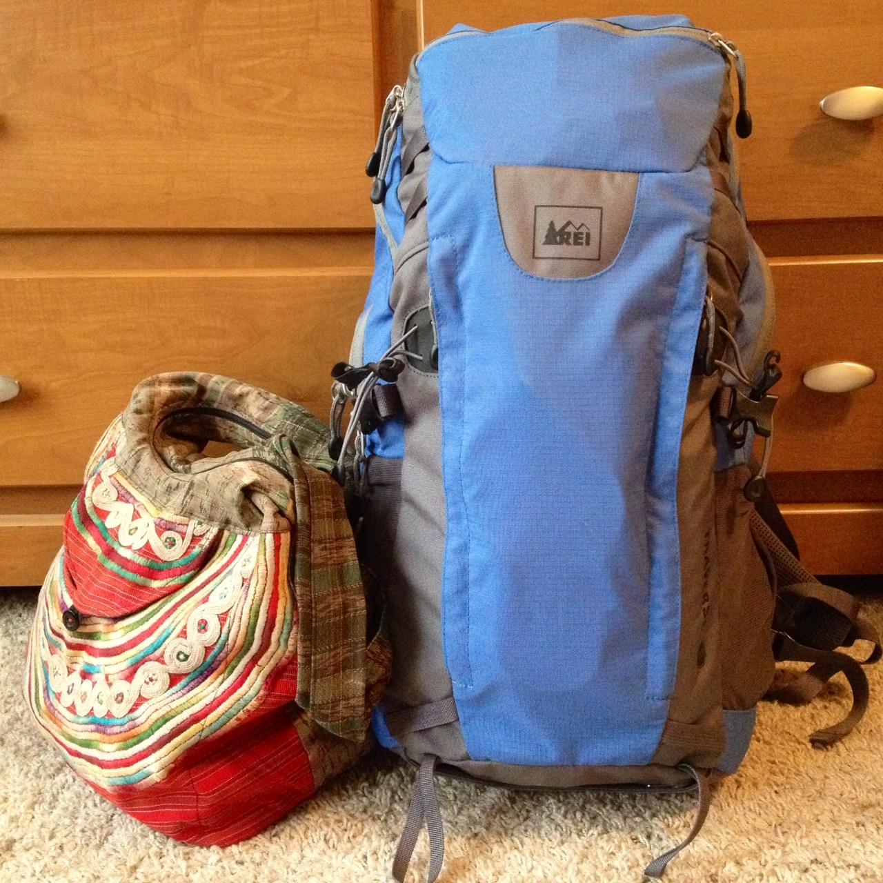 backpack packed full