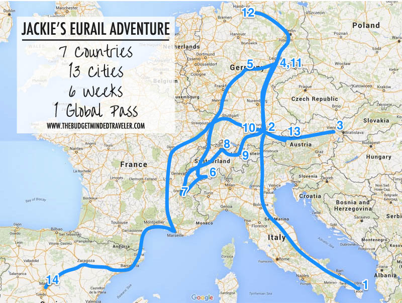 7 countries 13 cities 6 weeks 1 eurail pass